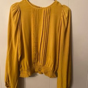 Anthropologie mustard blouse